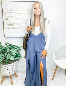 Through The Hills Charcoal Blue Jumpsuit