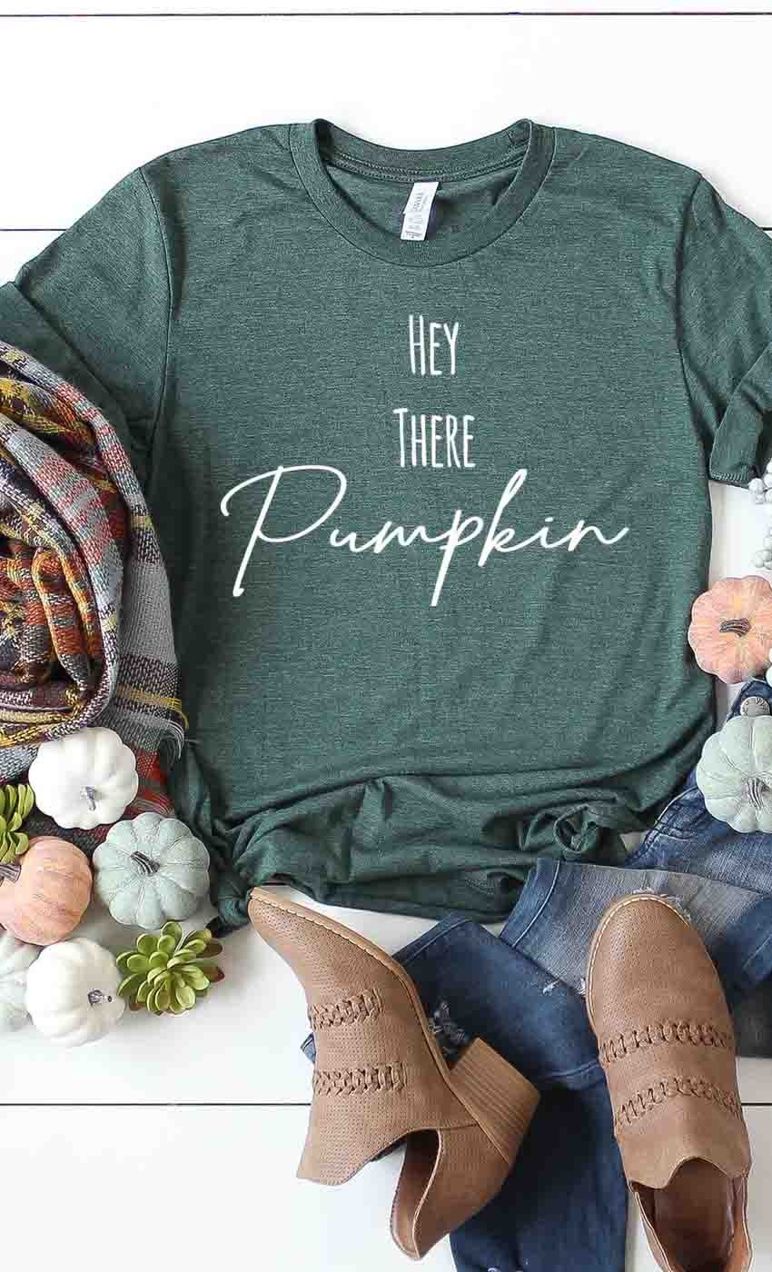 Hey There Pumpkin Tee in Heather Olive