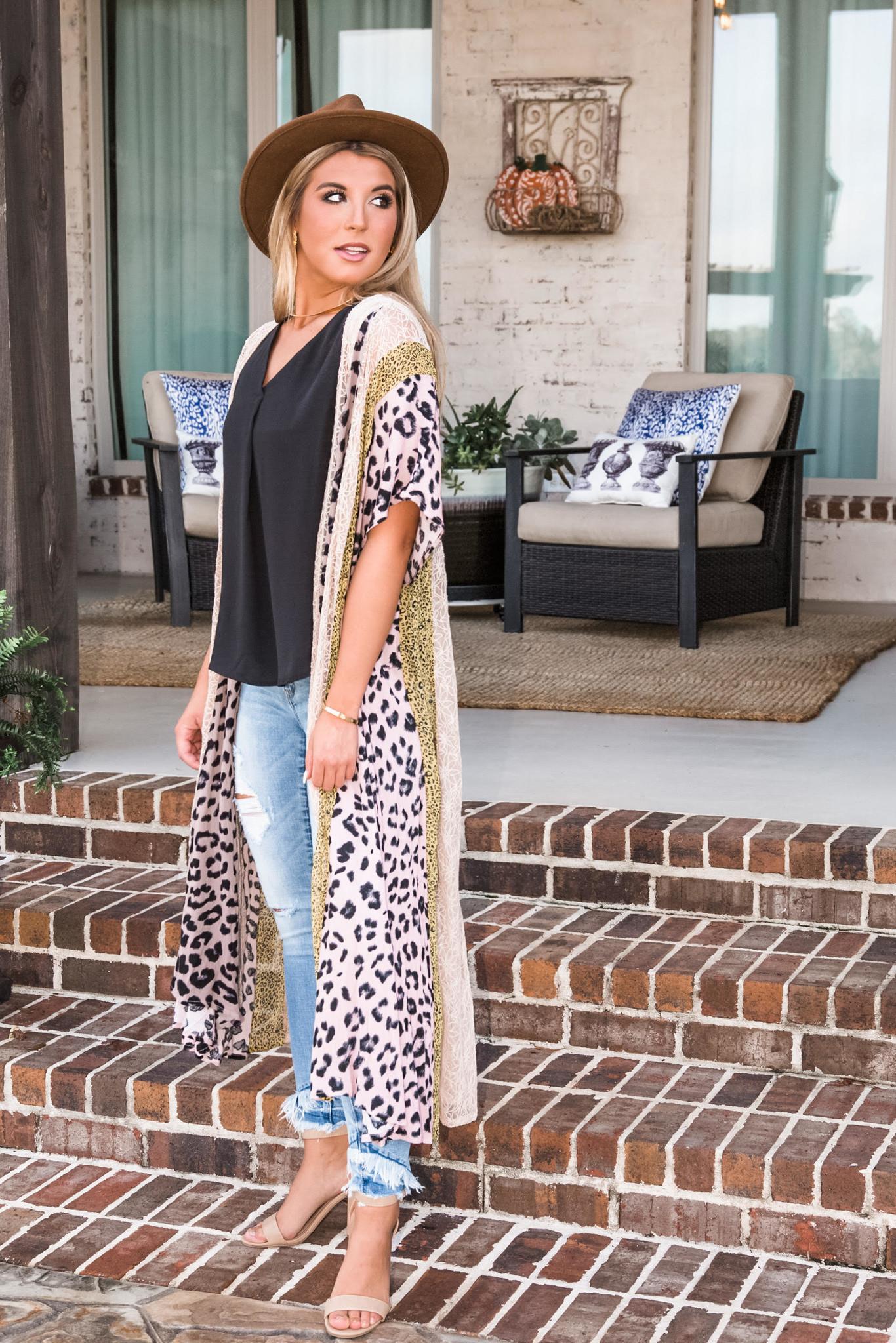 A Rare Gem Leopard & Lace Maxi Kimono