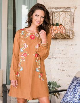Crisp Views Long Sleeve Embroidered Dress