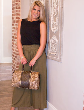 Now's Your Chance Smocked Wide Leg Pants