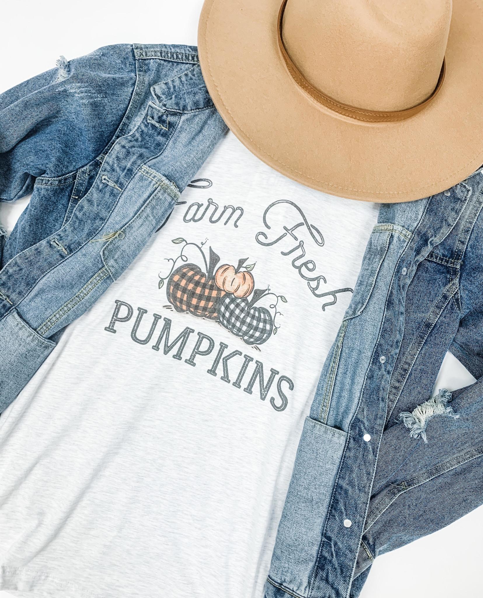 Farm Fresh Plaid Pumpkins Tee