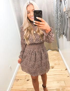 Simply Sassy LS Printed Chiffon Woven Dress
