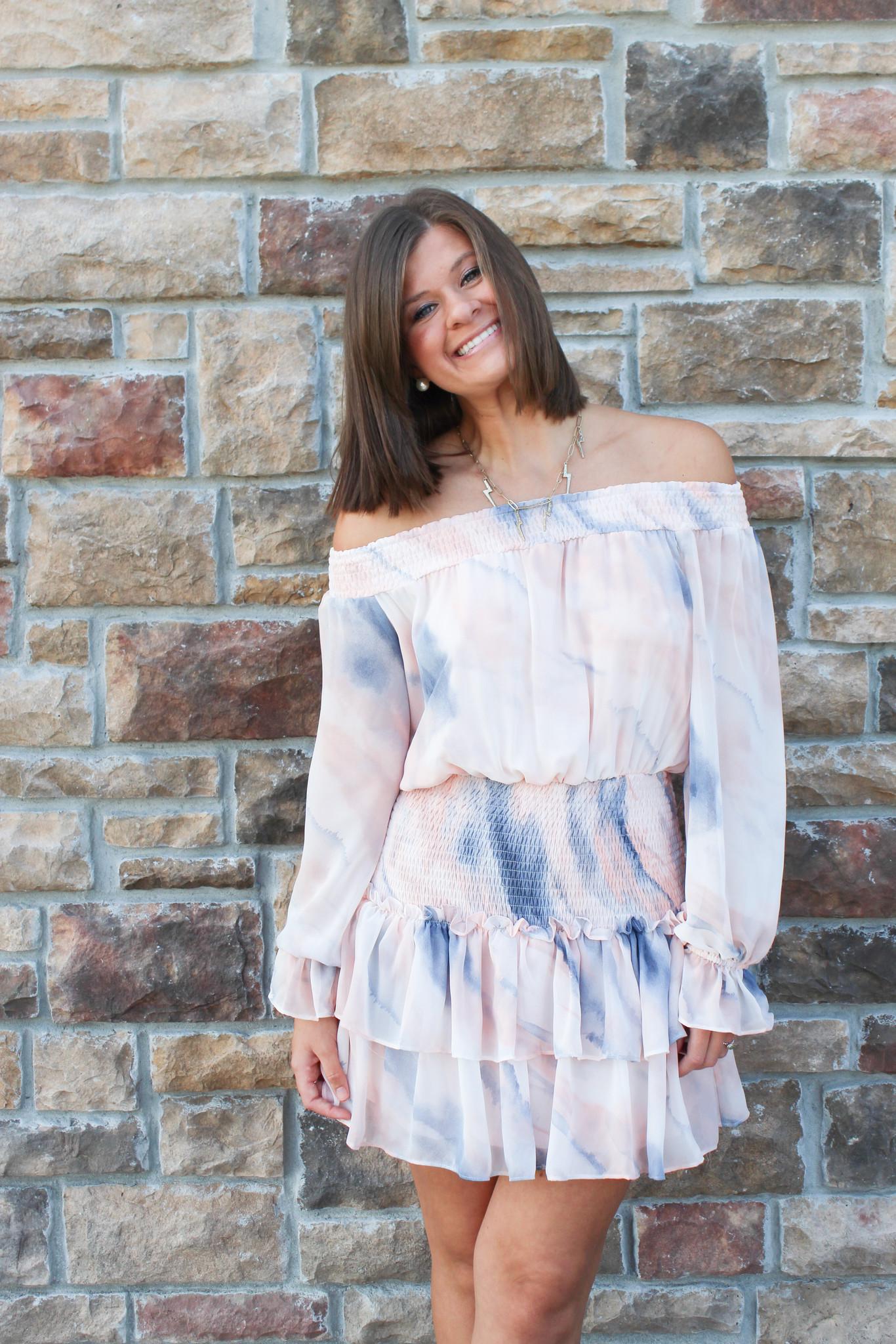 Smocked Waist Long Sleeve Mini Dress