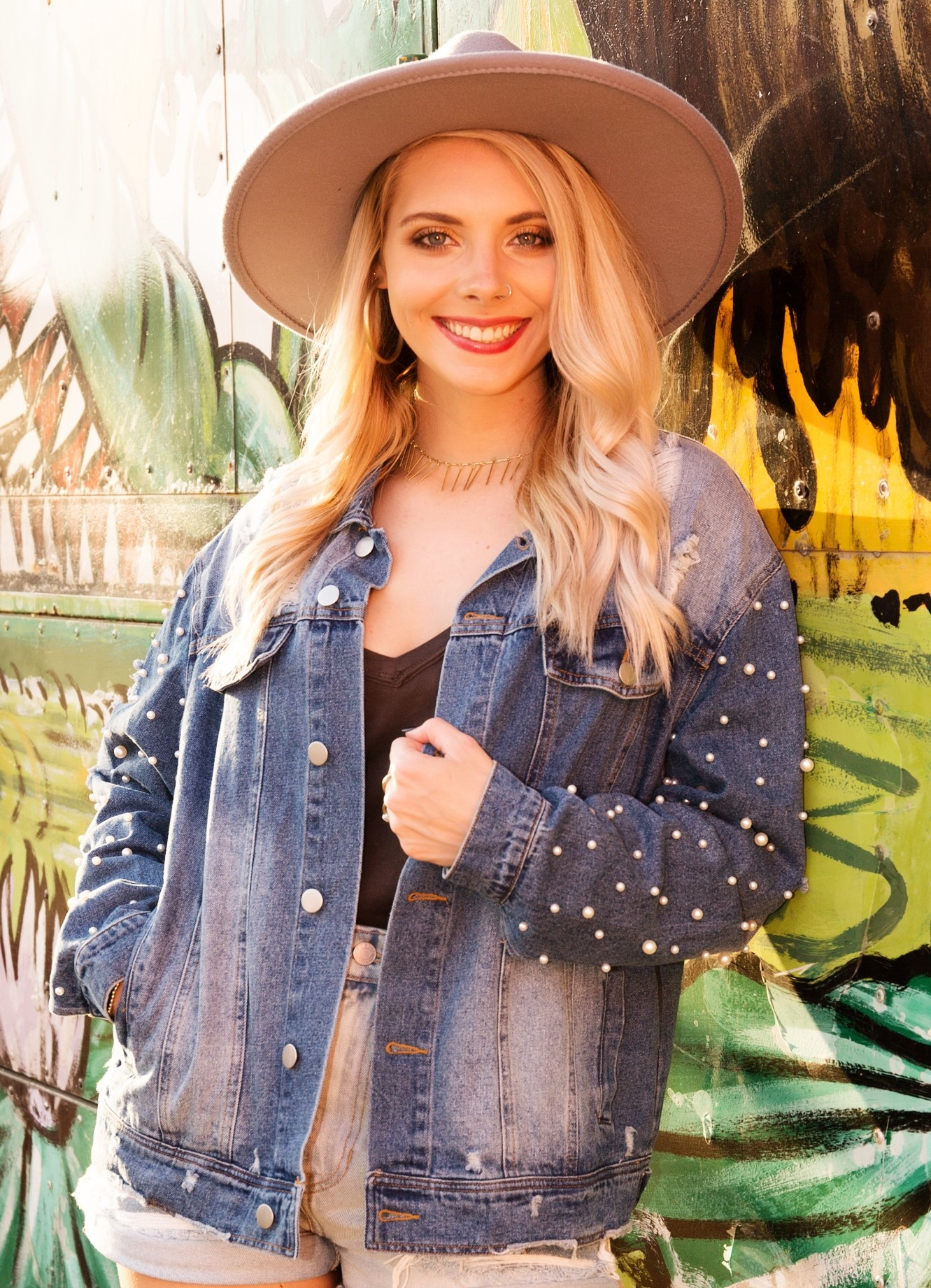 Distressed Denim Jacket w/ Buttoned Front Patch Pocket and Pearl Detail