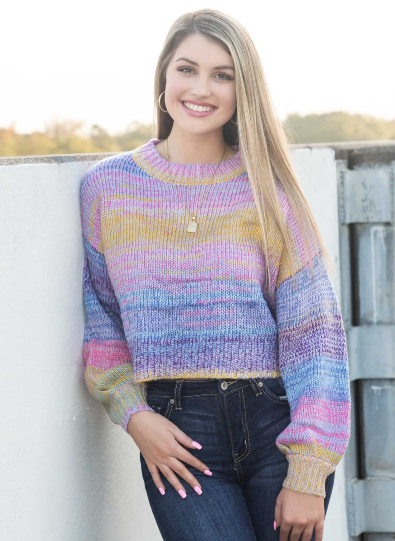 Round Neck Long Puff Sleeve Cable Knit Sweater in Purple Multi