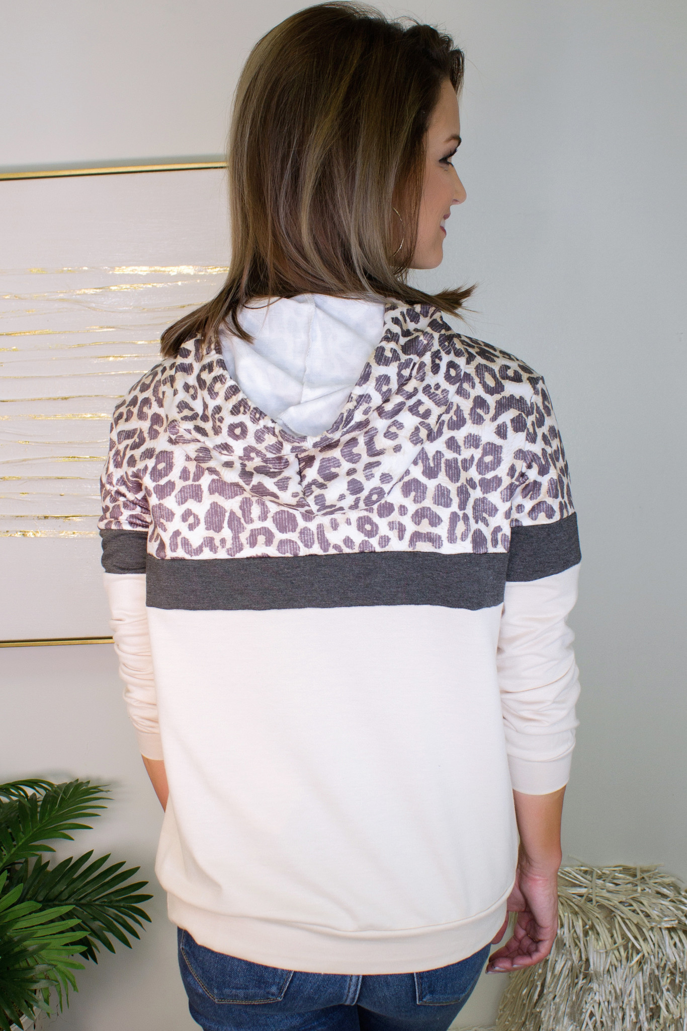 Into the Jungle Color Block Leopard Hoodie
