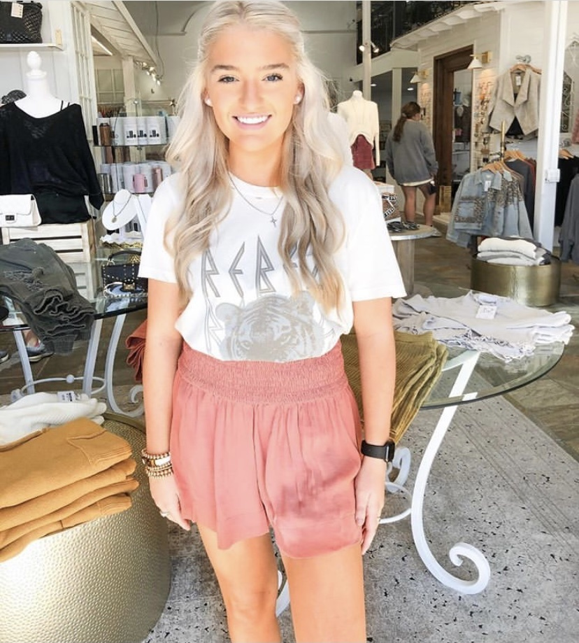 Smocked High-Waisted Silky Shorts