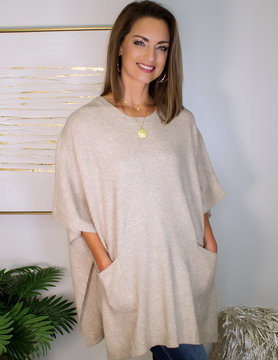 Round Neck Poncho Sweater