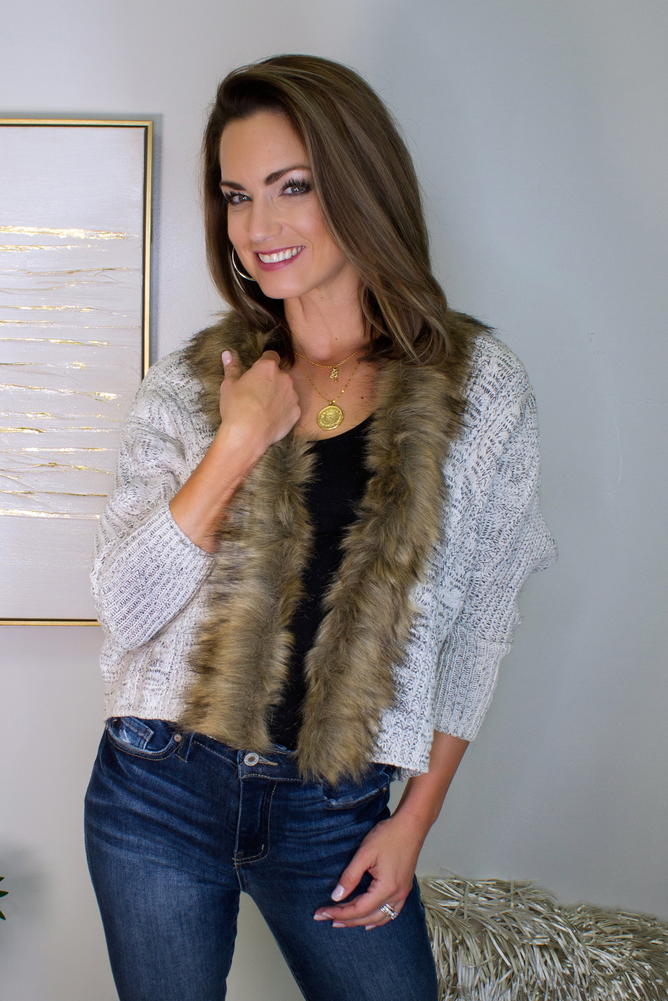 Fur Dolman Sleeve Cardigan