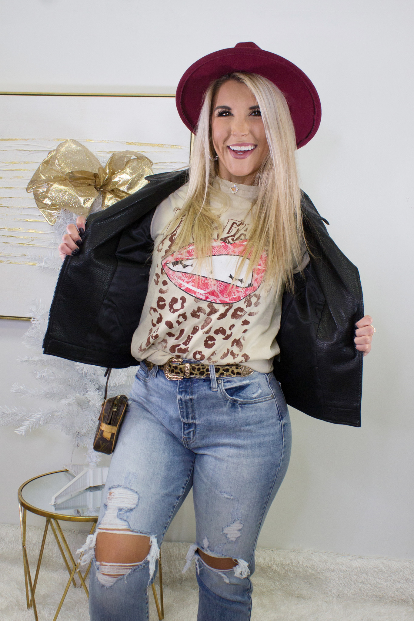 Girl Gang Leopard Lips Distressed Top