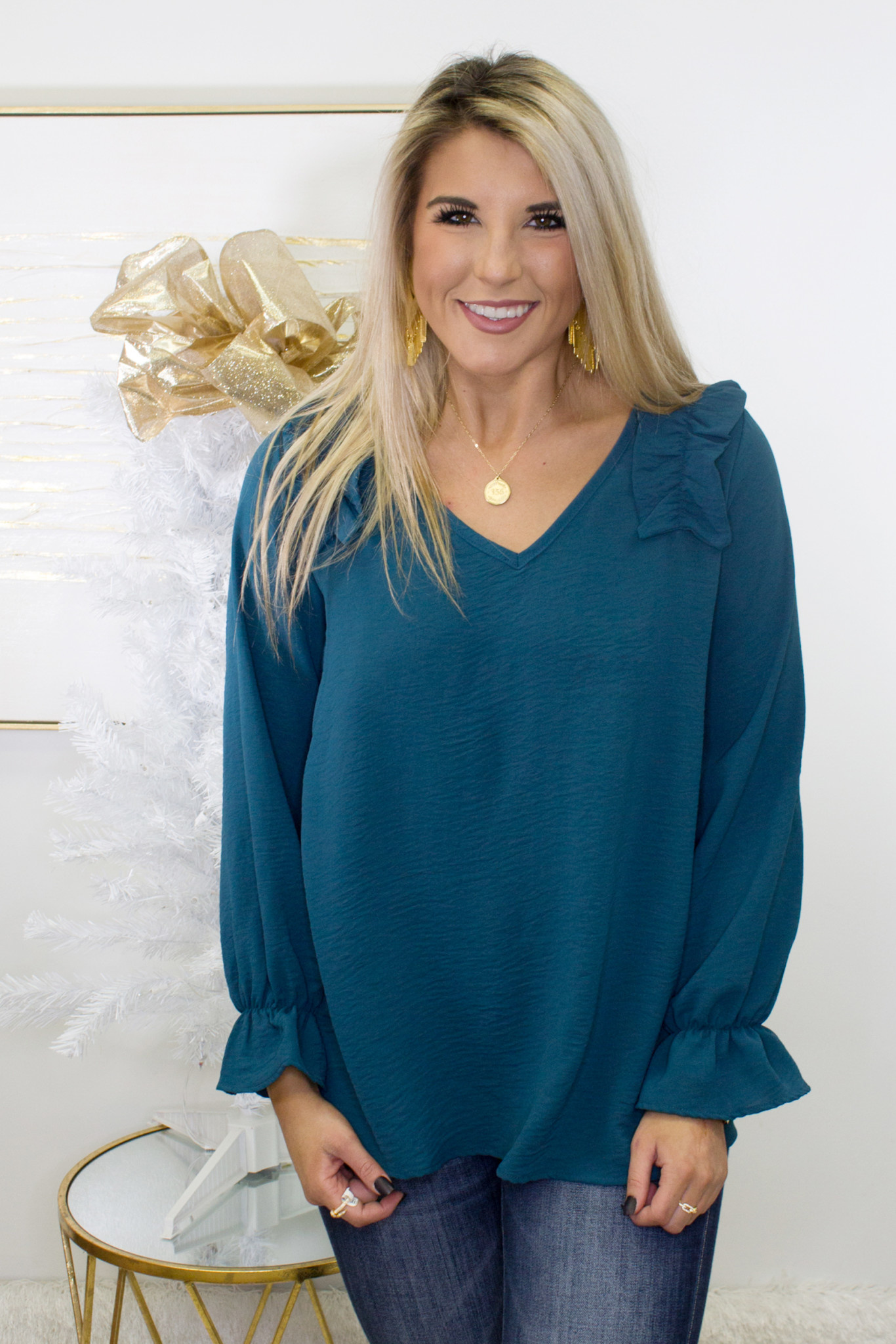 V-Neck Ruched Shoulder Top