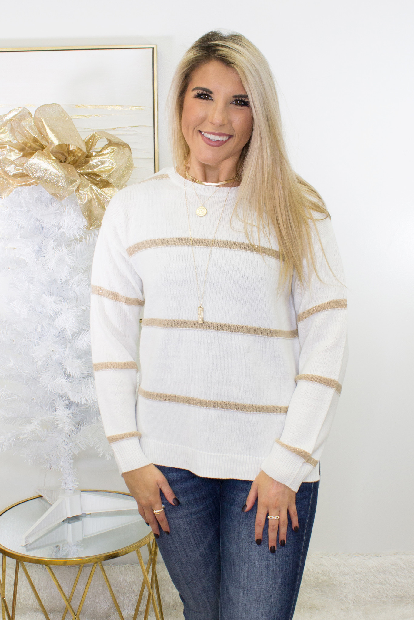 Long Sleeve Round Neck Stripe Sweater in Ivory/Taupe