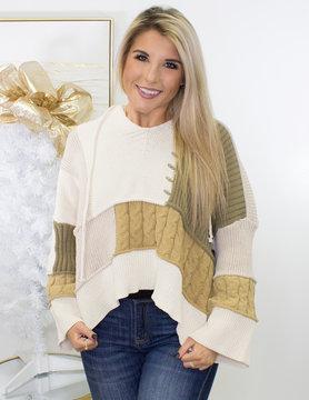 Knitted Colorblock Hoodie