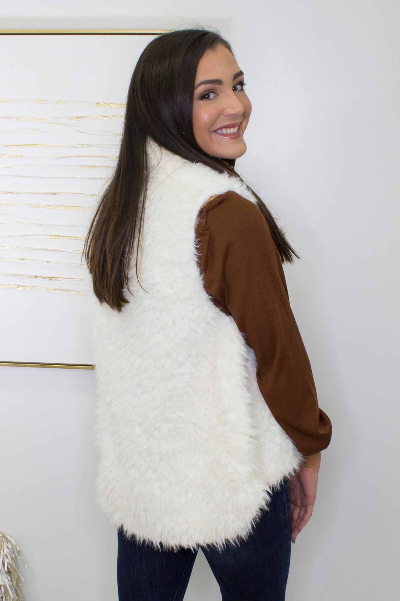 Solid Faux Fur Knit Vest in Ivory