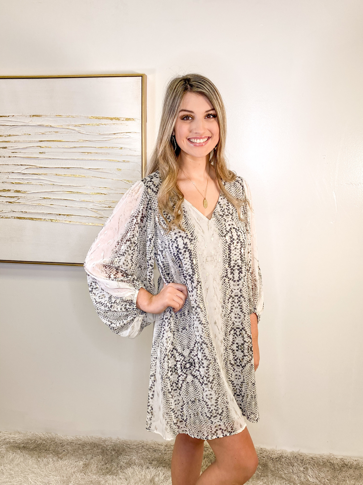 Adrienne Animal Balloon Puff Sleeve Dress