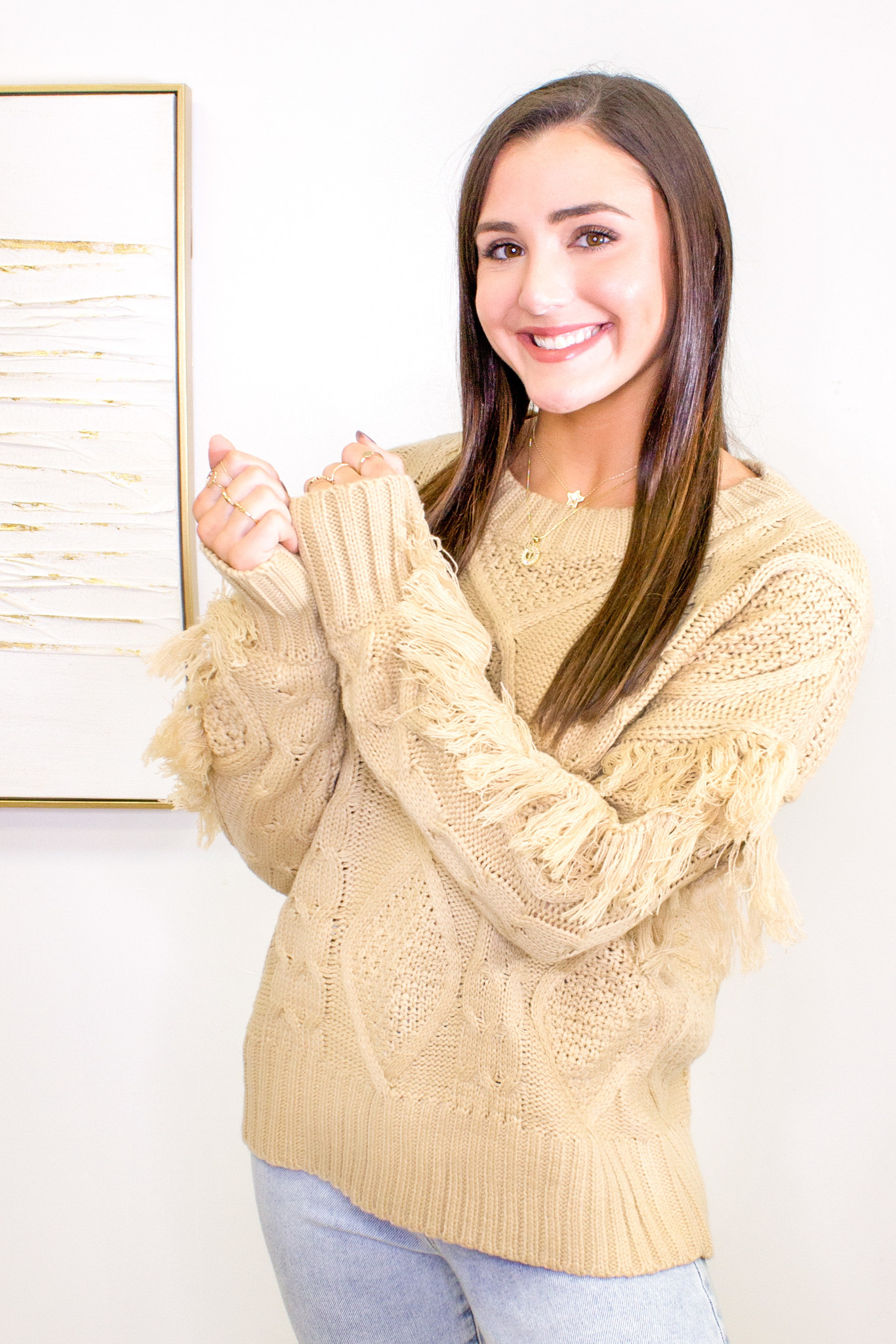 Cable Knit Sweater with Fringe