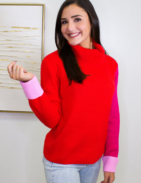 Be My Valentine Color Block Turtle Neck Sweater