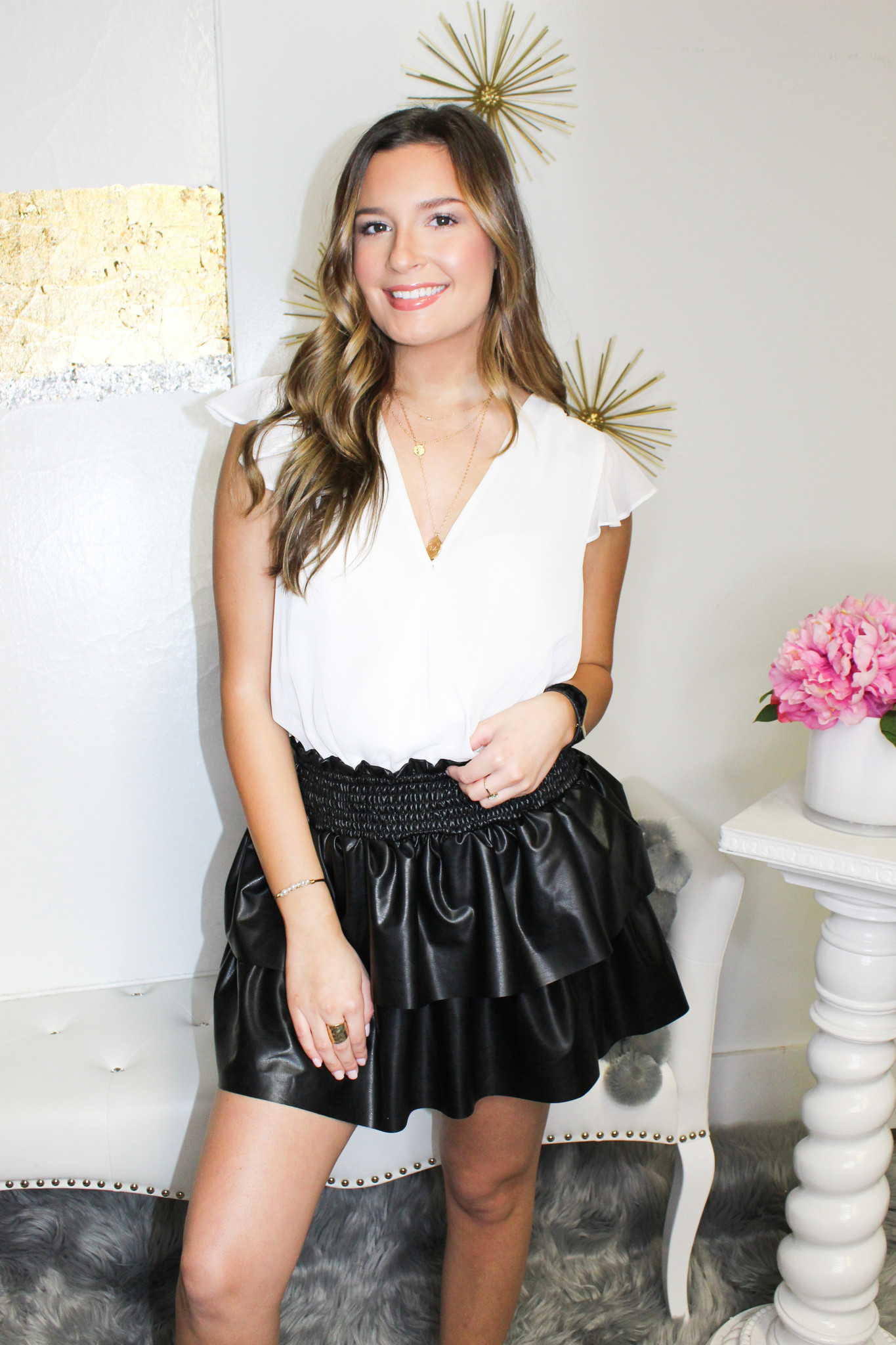 Layered Leather Skirt