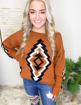 Aztec Printed Pullover Sweater
