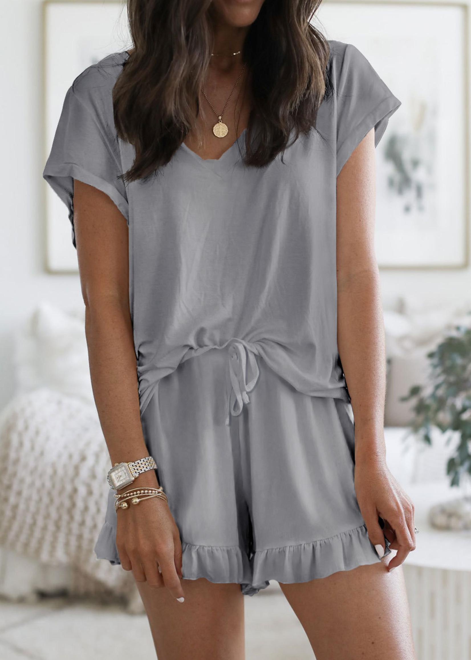 Super Soft T-Shirt Ruffle Shorts Lounge Set in Grey