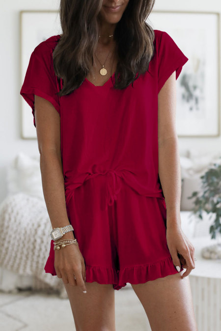 Super Soft T-Shirt Ruffle Shorts Lounge Set in Red