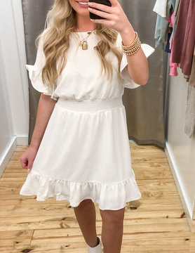 Drop Shoulder Dress With Smocked Waistband