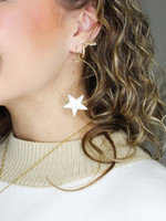 Gold Hoop with Star Detail Earring