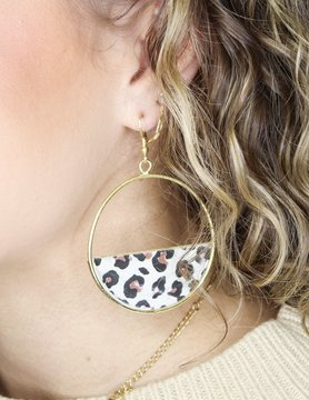 Hoop with Leopard Detail Earring
