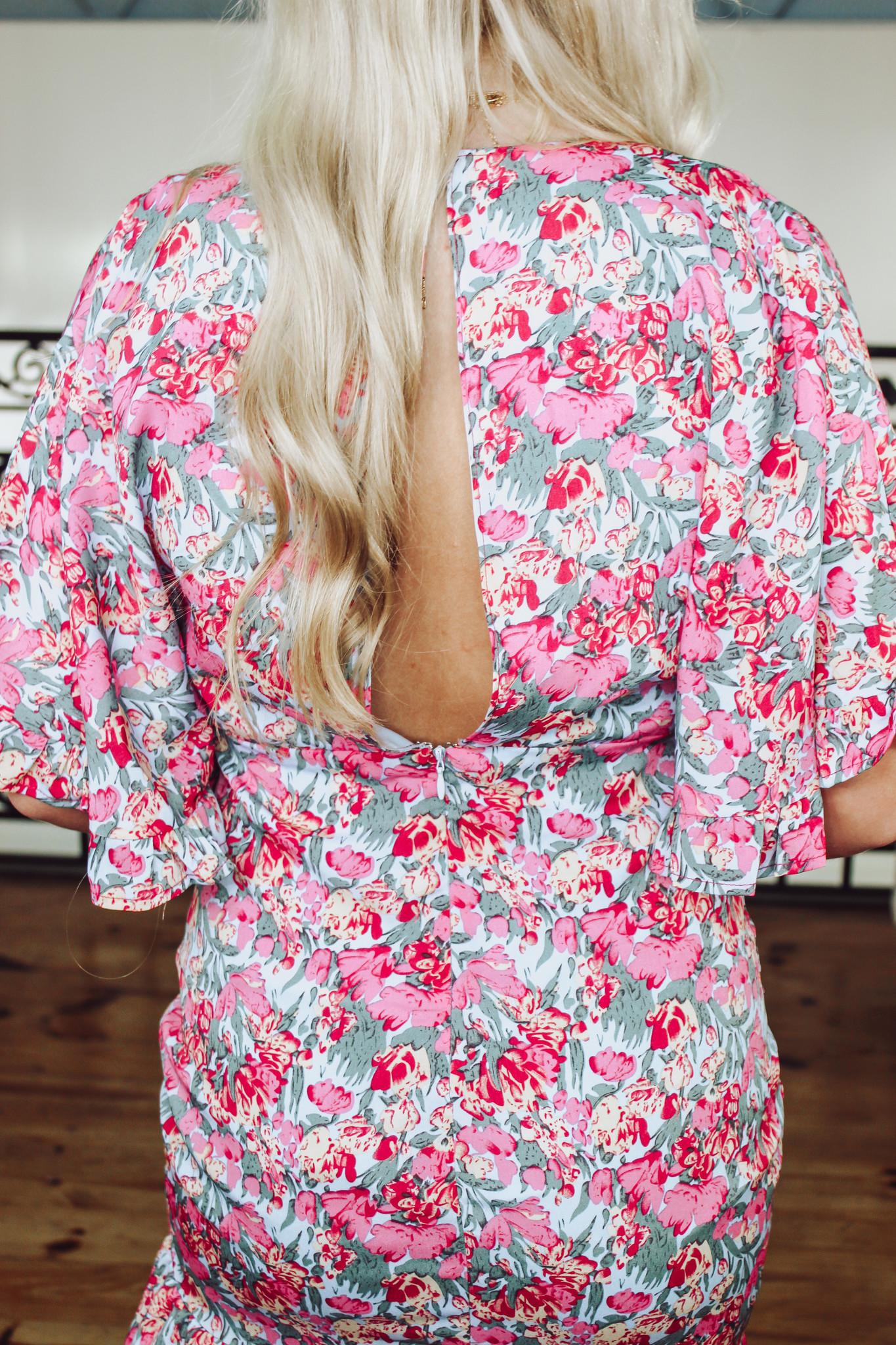 Floral Print Mini Ruffle Dress