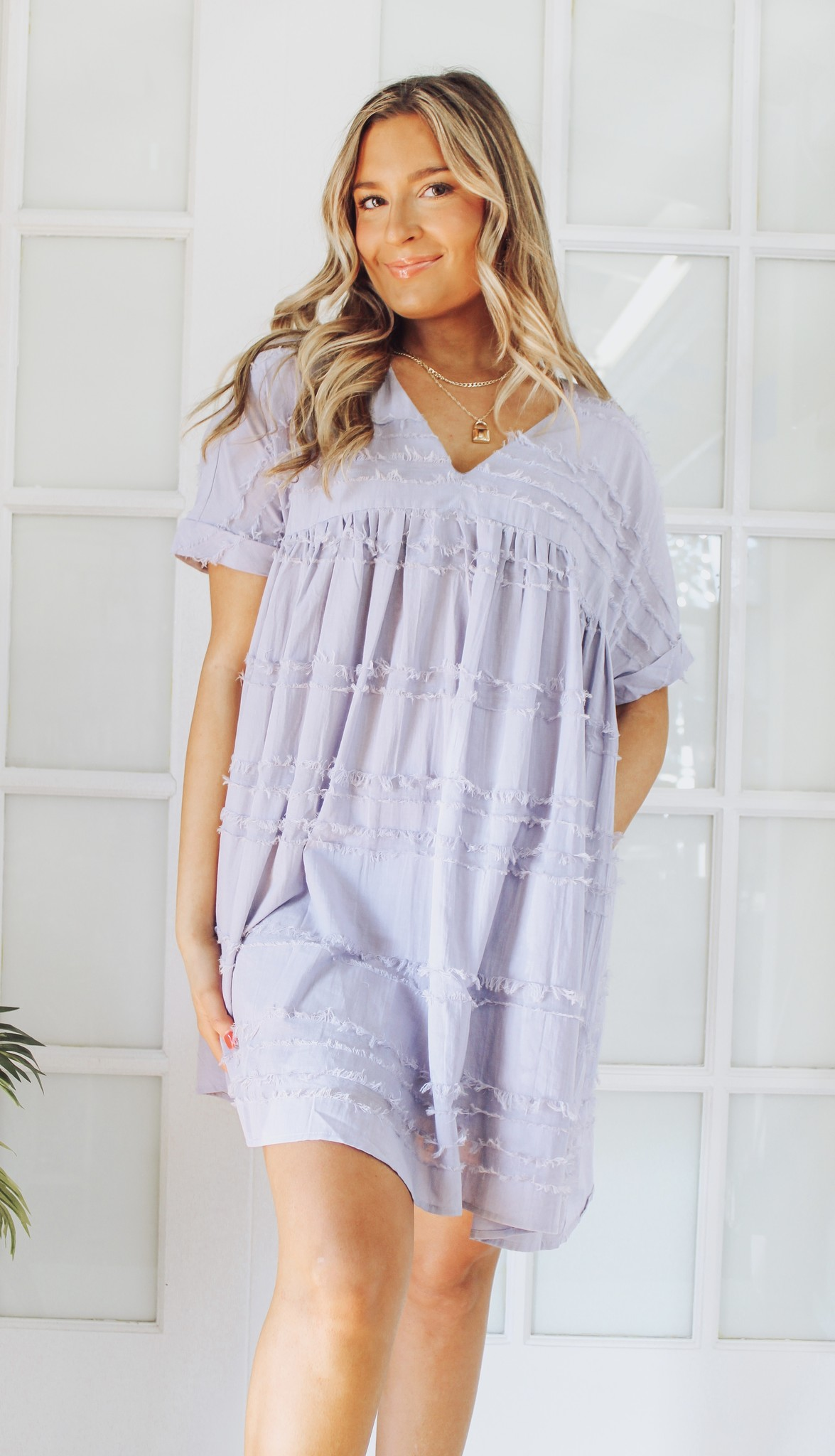 Textured Cotton Babydoll Dress