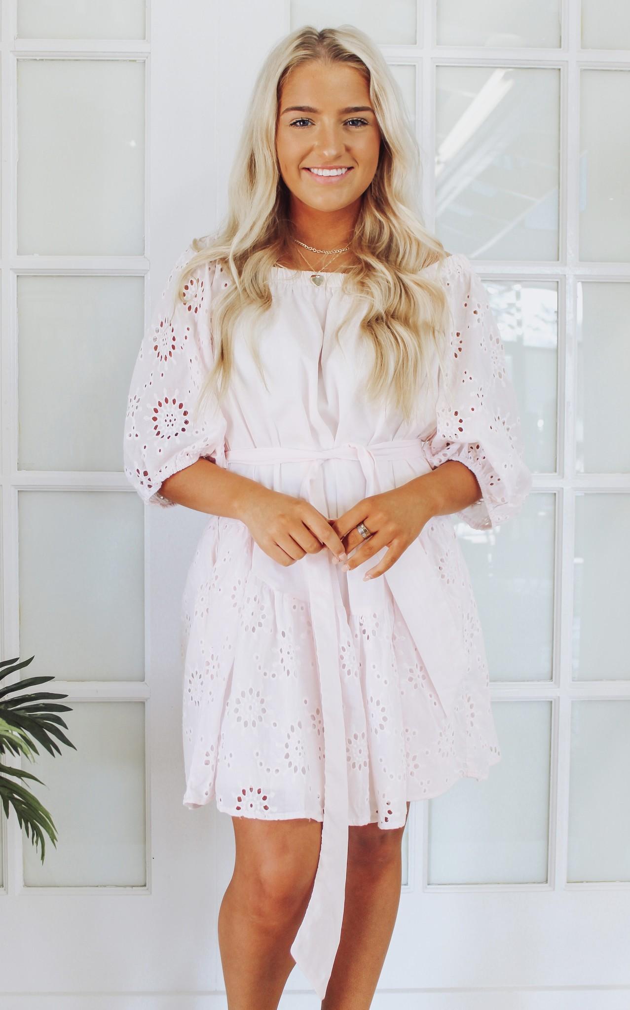Embroidery Cotton Eyelet Mini Dress