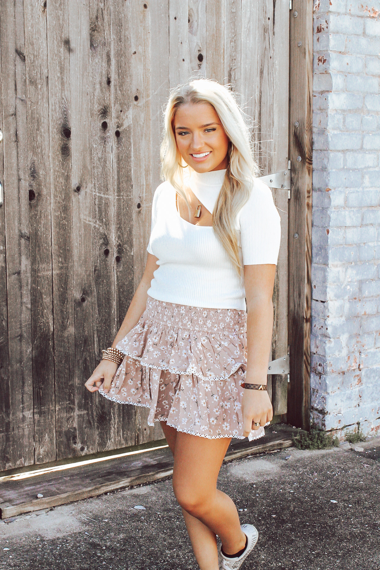 Floral Smocked Ruffle Skirt
