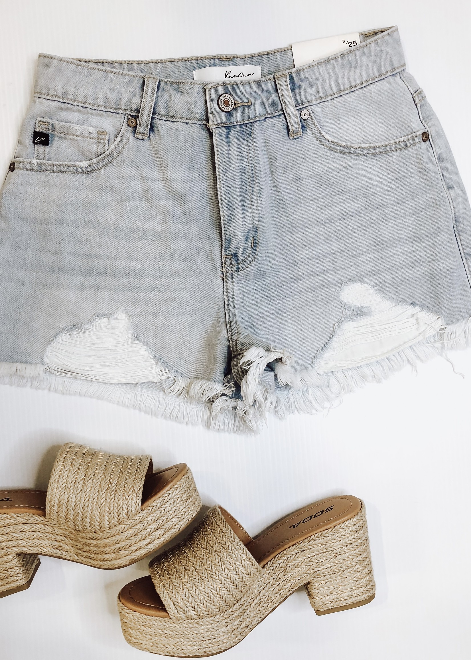 High Rise Light Wash Frayed Hem Shorts