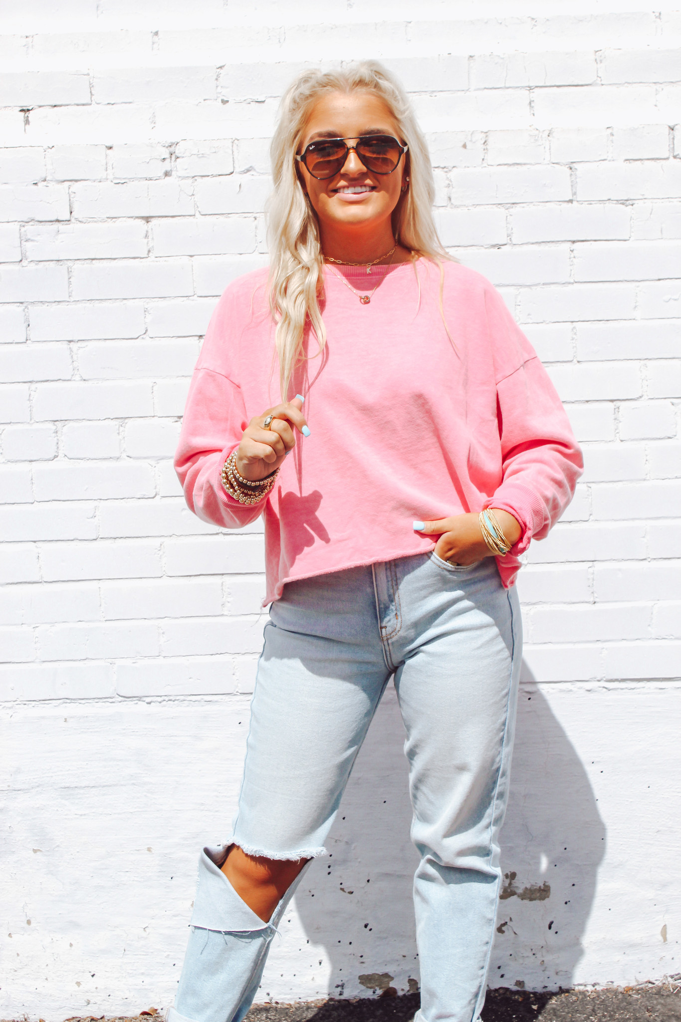 French Terry Knit Cropped Pullover