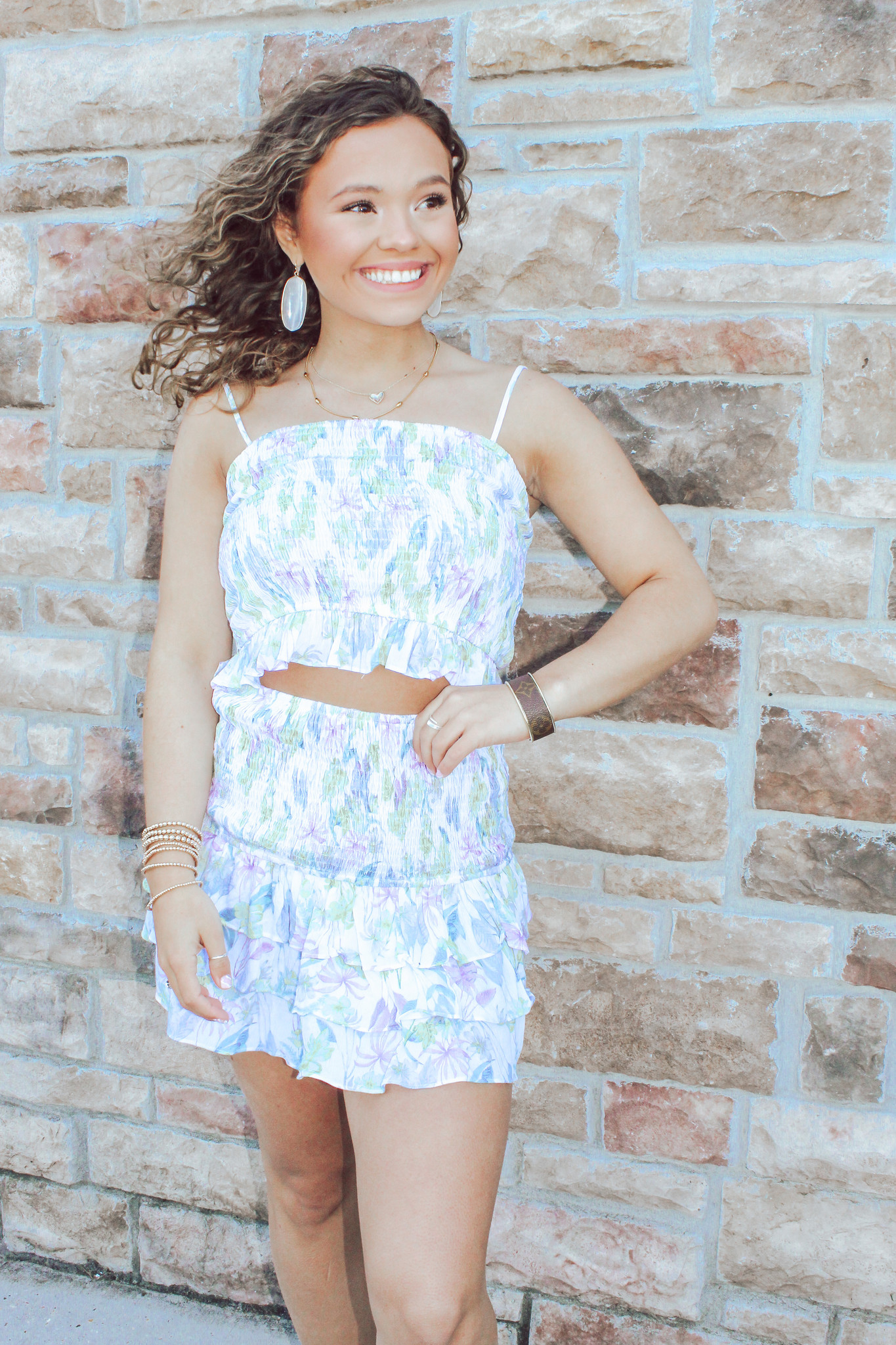 Floral Top And Skirt Set with Ruffle Detail