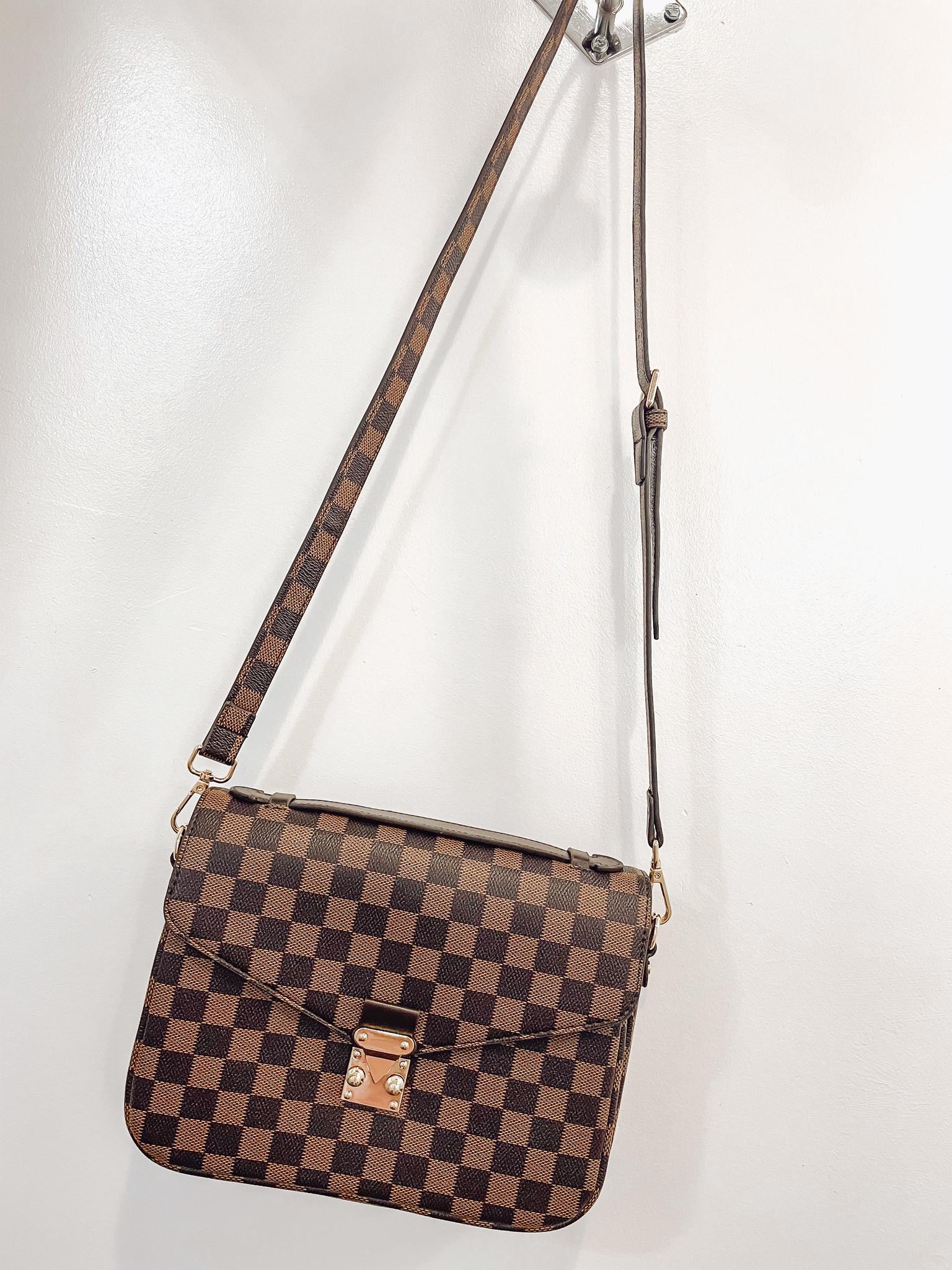 Designer Inspired Checkered Crossbody Purse