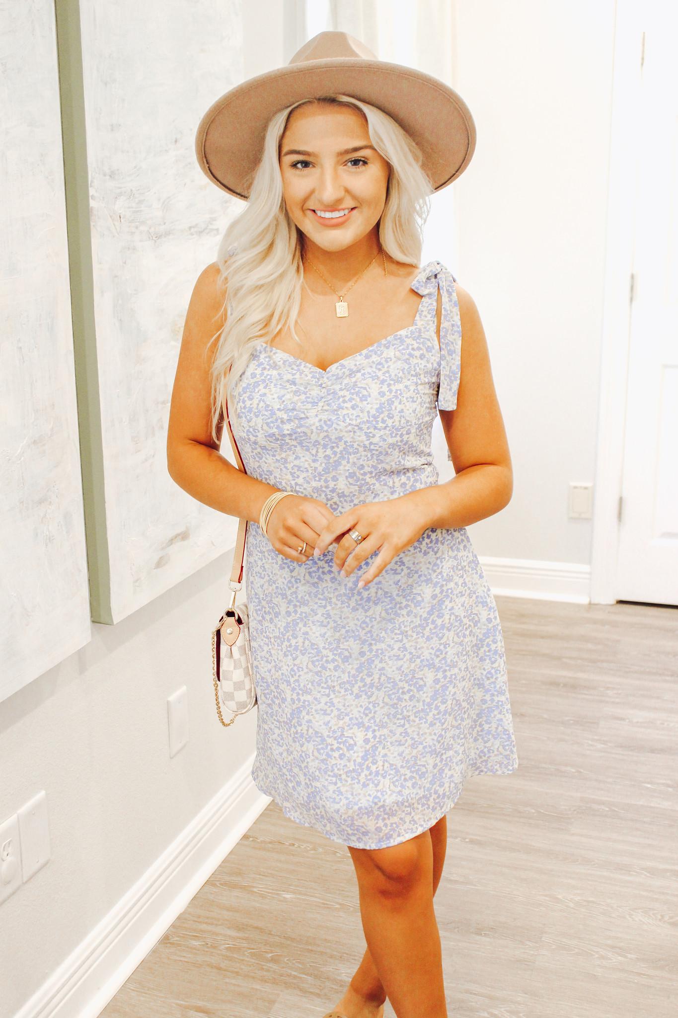 Printed Tie Strap Sweetheart Dress