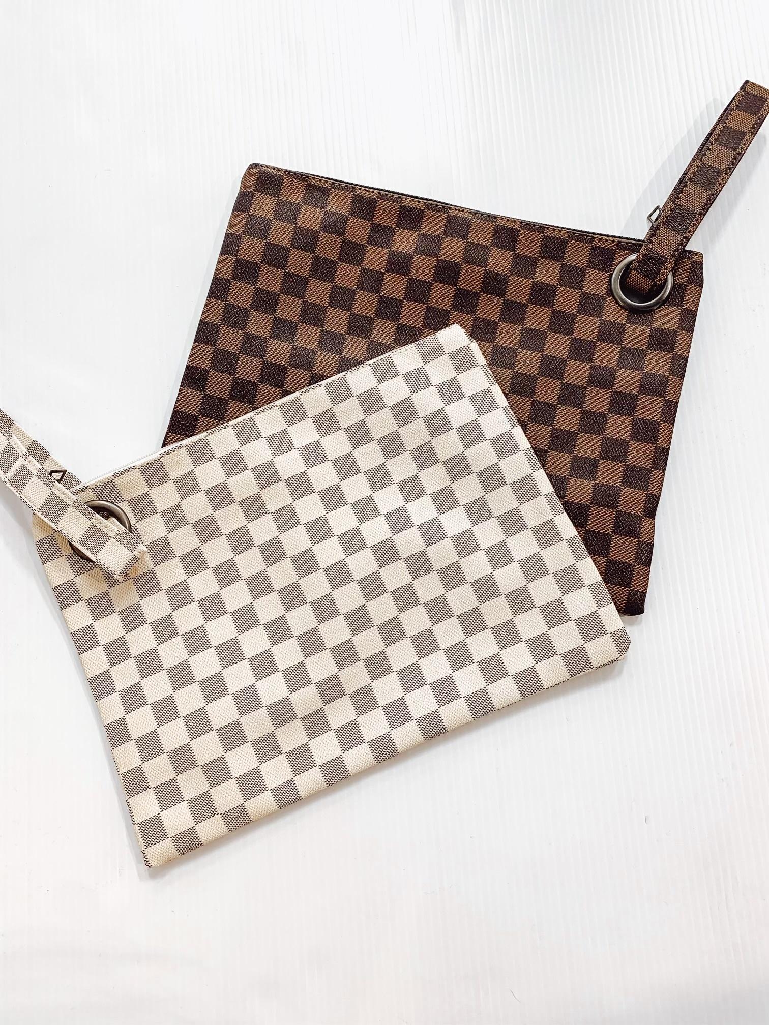 Designer Inspired Checkered Clutch