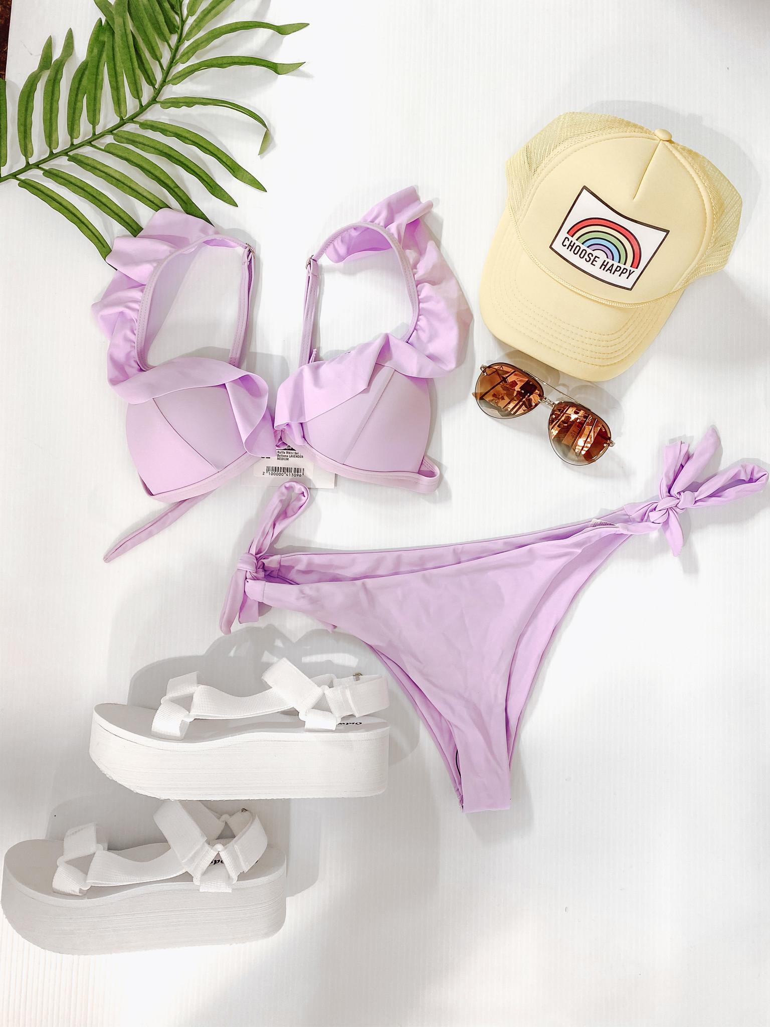 Ruffle Bikini Set with Tie Bottoms
