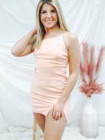 One Shoulder Slit Mini Dress