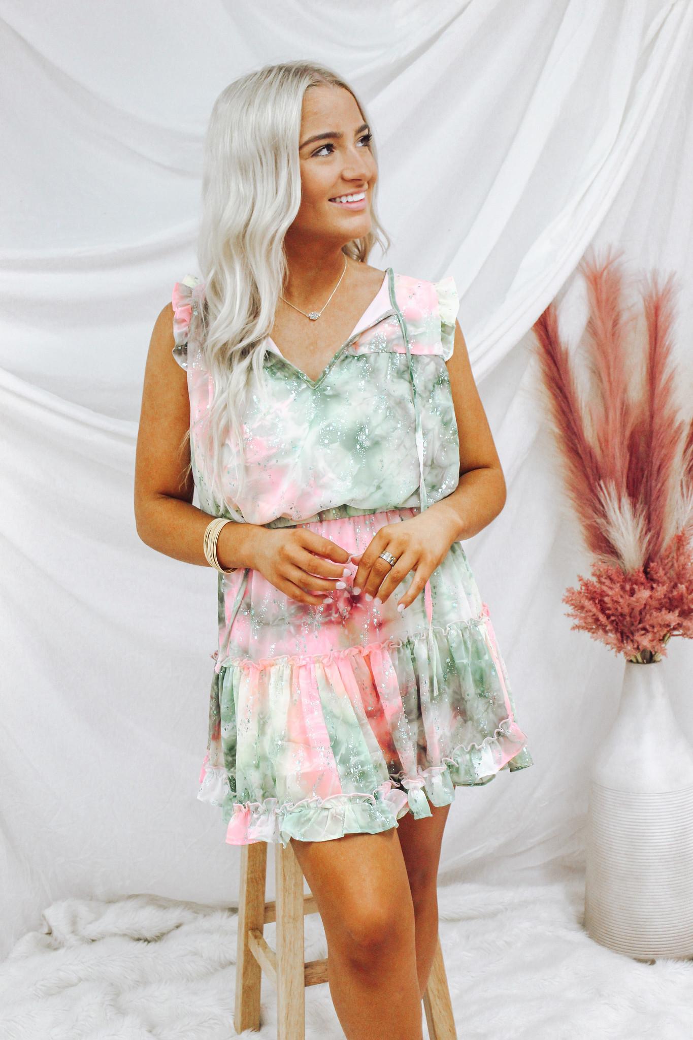 Sleeveless Layered Ruffle Dress