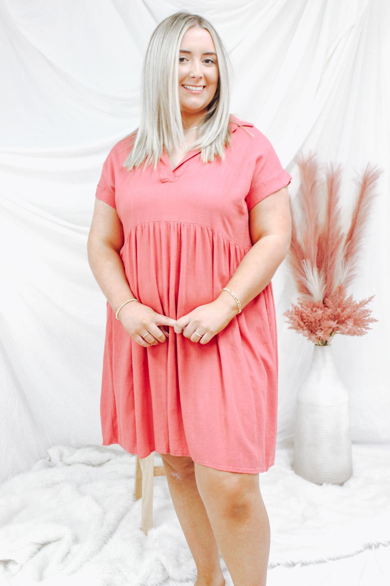 Linen Blend Collared Dress w/ Pockets