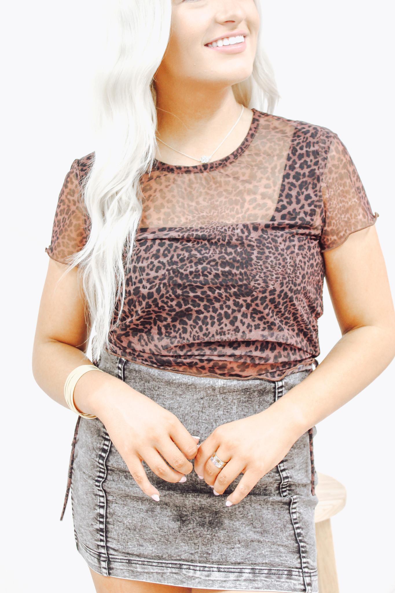 Short Sleeve Side Shirring Mesh Top