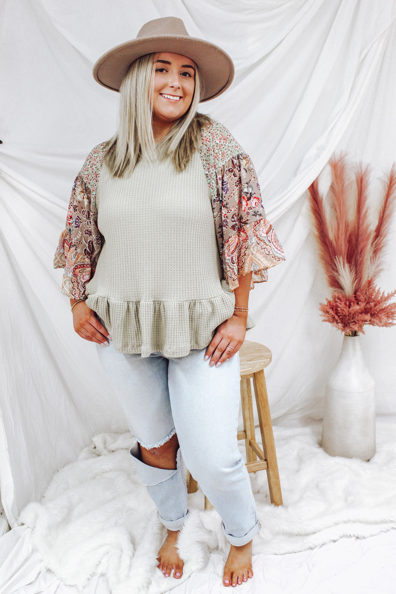 Bell Sleeve Waffle Knit Top