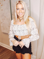 Long Sleeve Smocked Crop Top With Ruching Detail