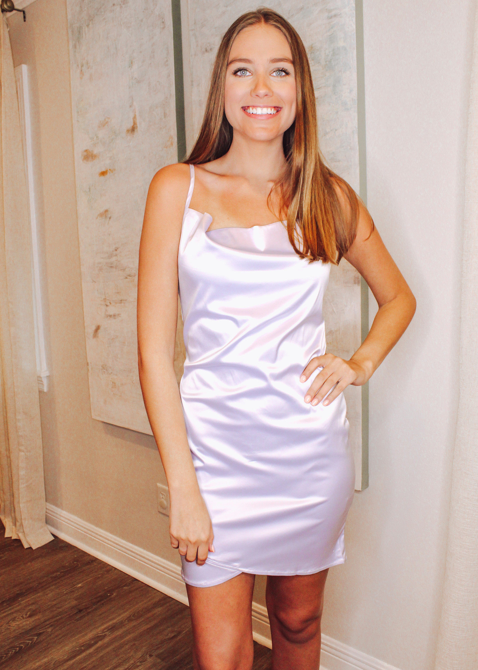 Satin Cowl Neck Slip Dress With Petal Hem