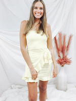 Spaghetti Strap Square Neck Ruffled Wrap Dress