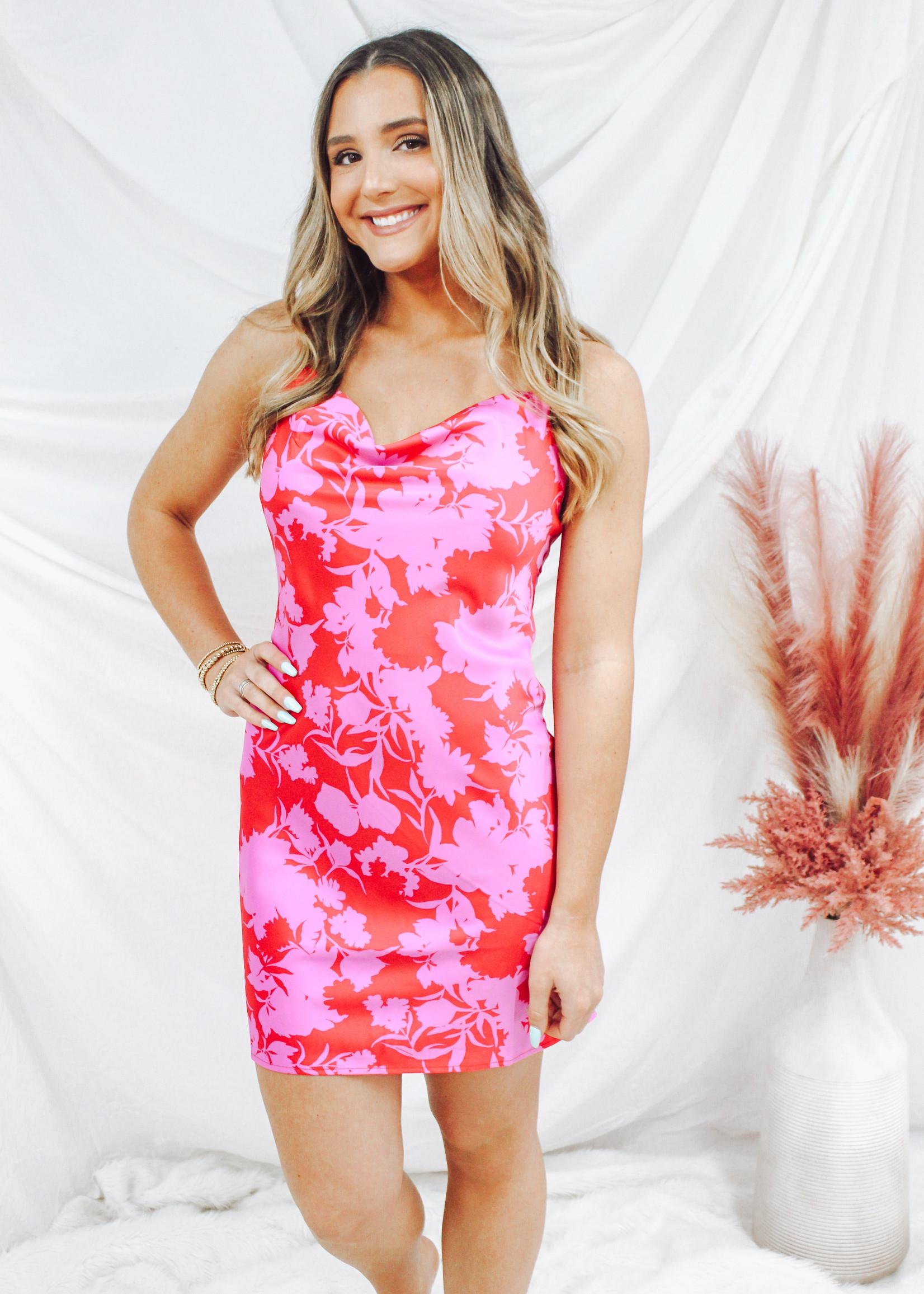 Floral Satin Mini Dress