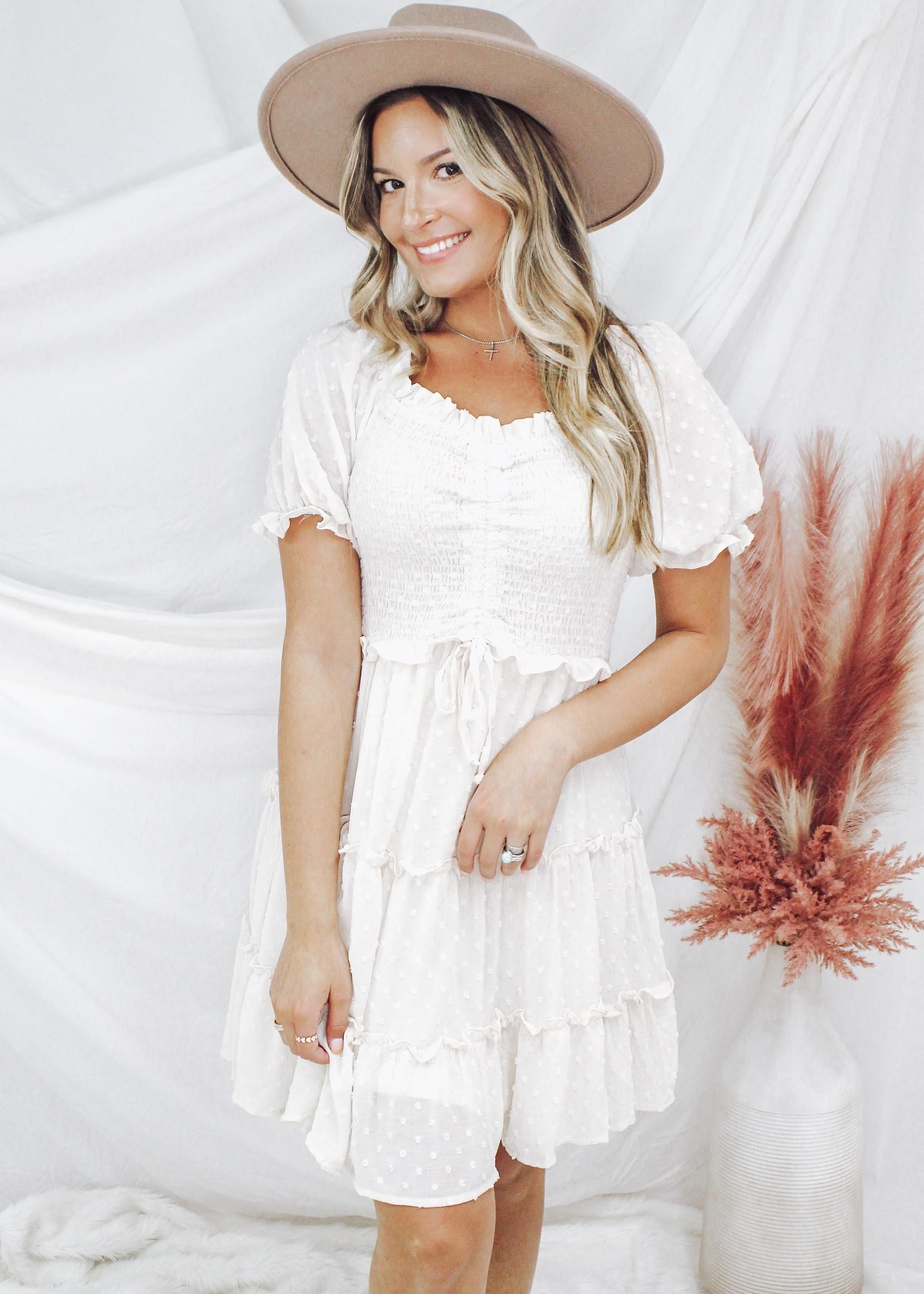 Puff Sleeve Woven Smocked Dress